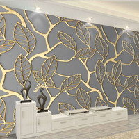 8d Leaf peral Wallpaper Mural wall Modern style living room and Tv background wall Gold 8d Photo Mural 3D Decor Wall Decals Art