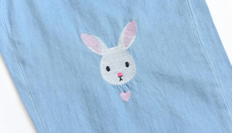 Light Blue Deep Blue Kawaii Bunny Embroidery Jeans Pants Women Summer Casual Straight Pants With Pockets Fashion Ninth Pants13