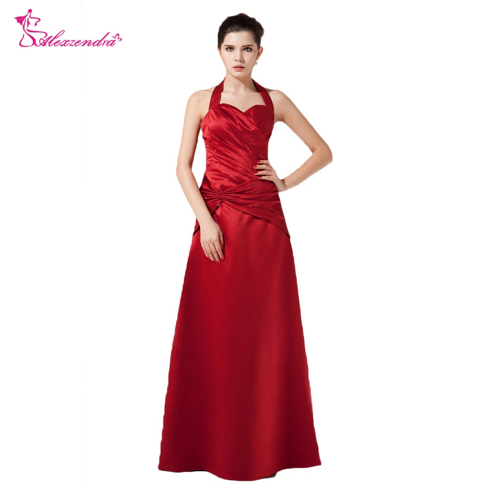 Alexzendra Burgundy Straight Halter Up   Prom     Dresses   2018 Custom Made Backless   Prom   Gowns Party   Dress