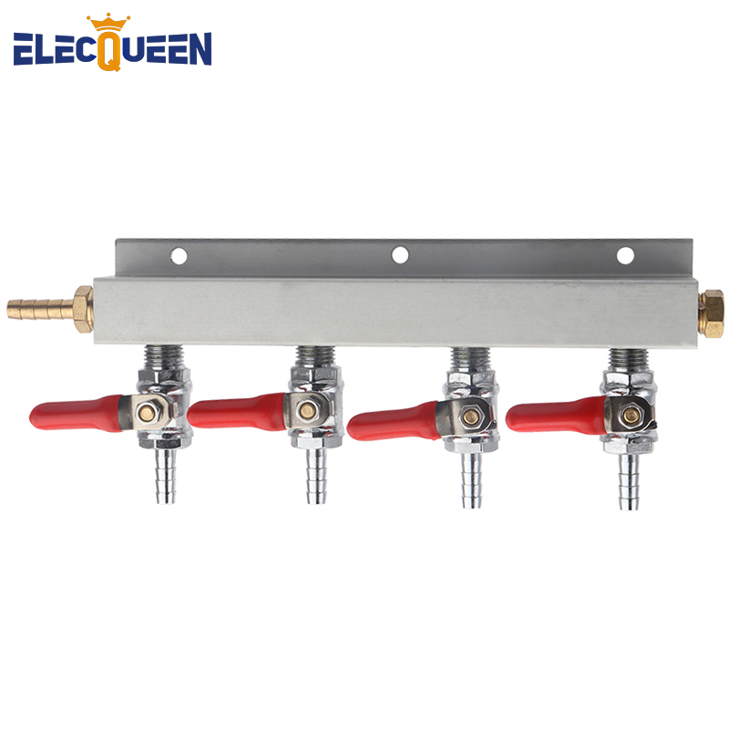 Multi-way CO2 Gas Distribution Manifold Splitter, 2/3/4 Way Home Brew Check Valves Draft Beer Kegerator 1/4 Barb,7mm Fittings
