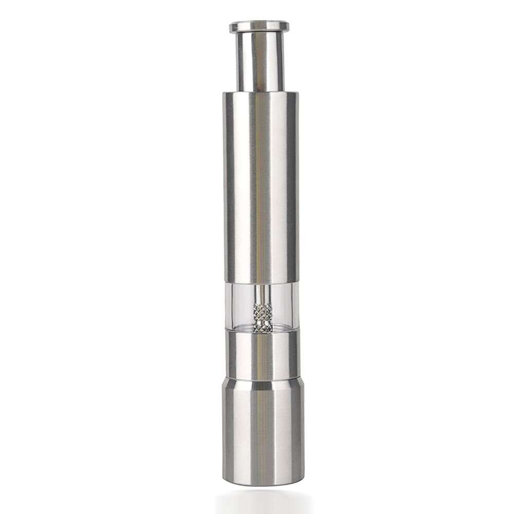 Stainless Steel Thumb Push Salt Pepper Grinder Spice Sauce Mill Grind Stick Tool