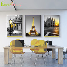 Wall Art Canvas Painting Modern London Landscape Posters And Prints Yellow Tower Pictures For Living Room Decor Unframed
