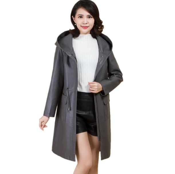 Autumn Women   Leather   jackets For Spring 2018 Casual Loose Hooded   Leather   Coat Women's Medium Length Trench Plus Size 4XL 5XL