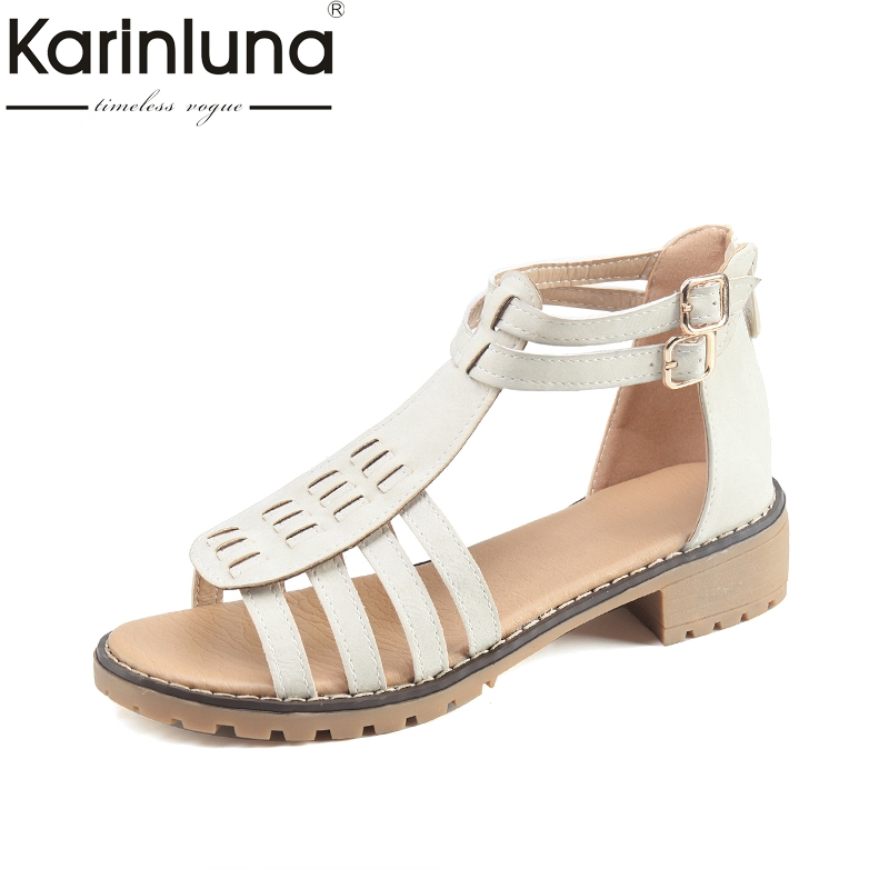 Karinluna 2018 new style large size 35-43 rome gladiator summer sandals woman shoes fashion zip up casual shoes women fashion retro style fringe gladiator sandals women rome peep toe flats casual dress shoes woman big size 34 41 summer slipeers
