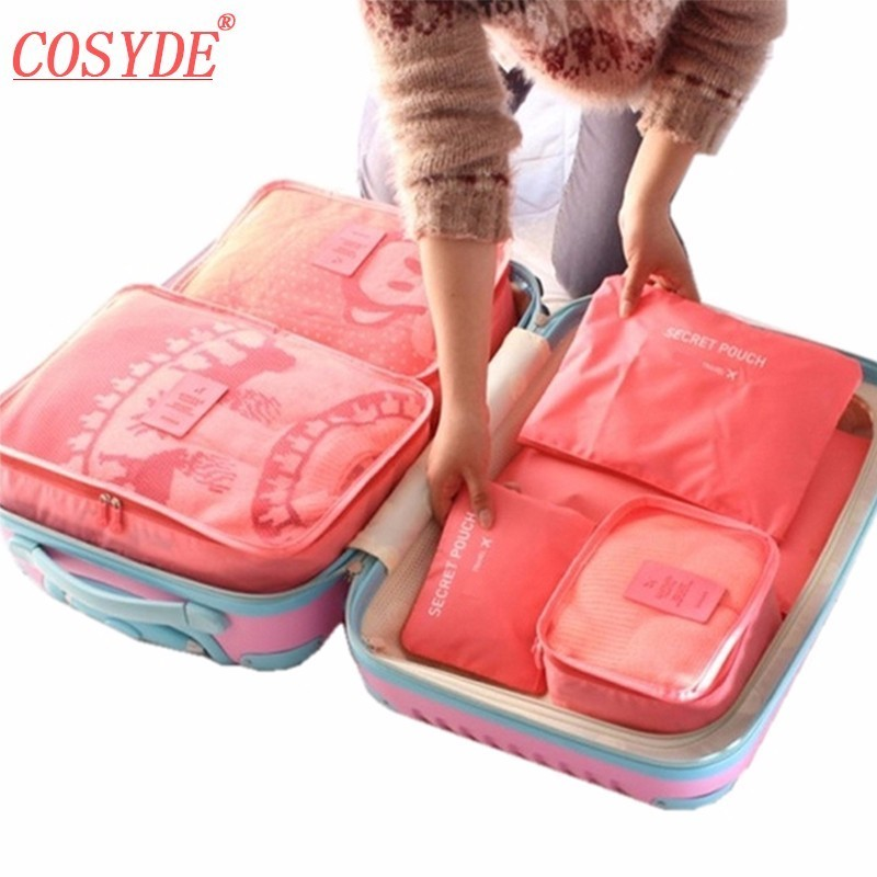 6PCS/Set High Quality Oxford Cloth Travel Mesh Bag In Bag Luggage Organizer Packing Cube Organiser Clothing Travel Accessories