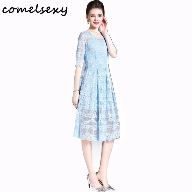 2017 Summer Dress Women Sexy Half Sleeve Solid Color Slim Plus Size
