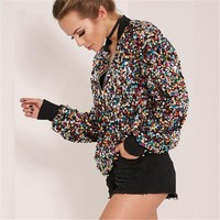 2018 New Stylish Sequins Bomber Jacket Multi color Shiny Bling Bling Sequin Camo Jacket