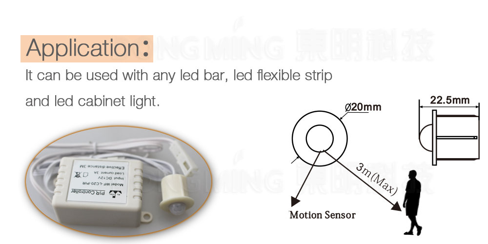 New Free Shipping DC 12V/24V Body Infrared PIR spilt Motion Sensor Switch For LED Strip /Light /cabinet Automatic