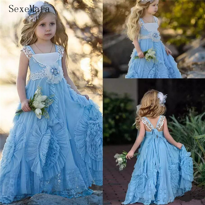 Vintage Light Blue Flower Girls Dress Ruffle Square Neck Lace Pageant Dress For Girls 2018 Girls Birthday Party Dress lace panel see thru vintage dress