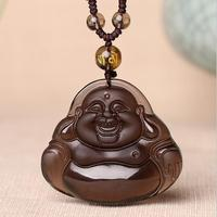 Chinese Natural Ice Obsidian Hand Carved Blessing Maitreya Buddha Pendant