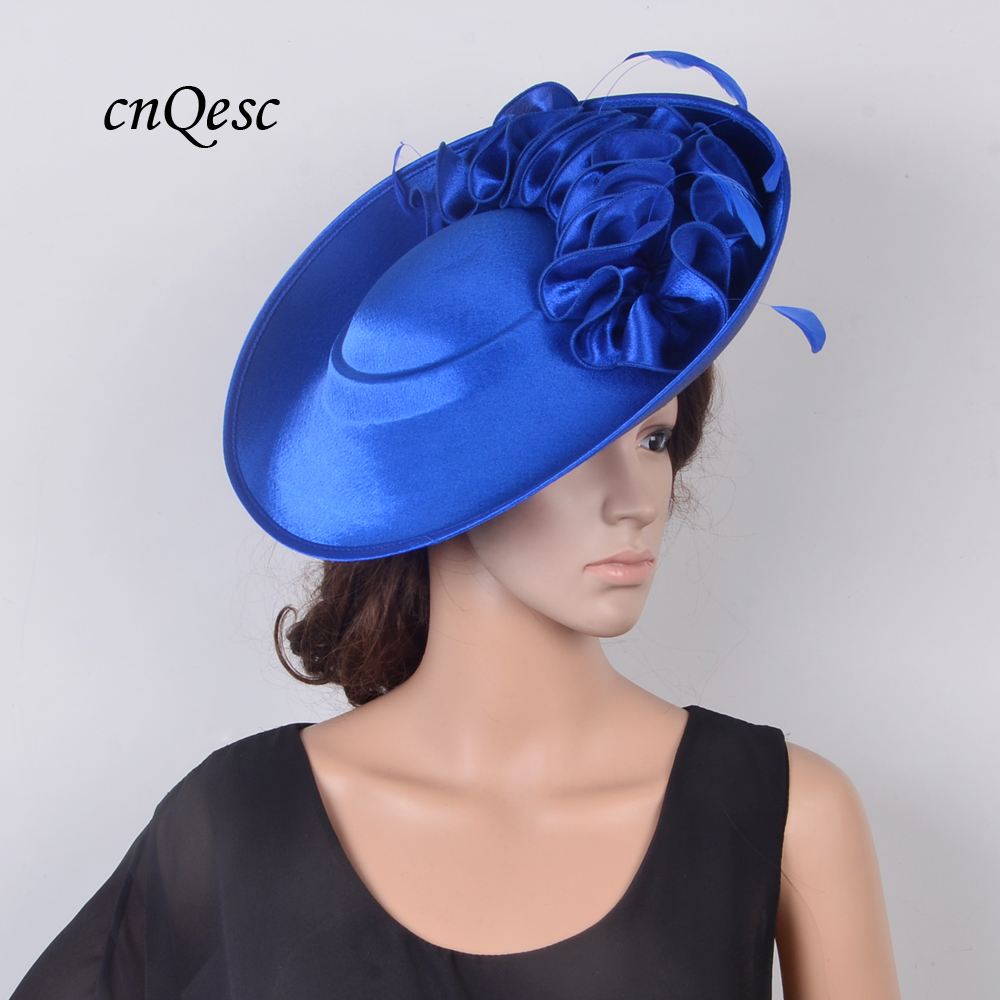 NEW Design High Quality Royal Blue Large Fascinator Saucer Base Kentucky Derby Hat For Wedding Church Party Races