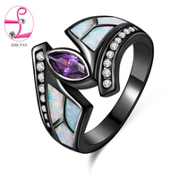ZHE FAN White Fire Opal Rings Black Plated Purple Marquise Cubic Zirconia Ring Party Event Jewelry