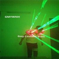 T28 Green laser light vest dj green beams laser man show projector ballroom dance robot costumes stage wears glasses party disco
