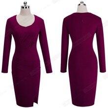 Casual Work Office Side Slit Formal Dress Women Elegant Long Sleeve Sheath Fitted Bodycon Pencil
