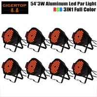 TIPTOP Stage Light 8PCS 54 X 3W RGB Led DJ Par Light Indoor Aluminum Shell Background Projector 3IN1 Spot Light DMX512 Par Cans