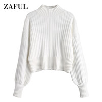 ZAFUL Cotton High Neck Sweater Women Dropped Shoulder Mock Neck Jumper Autumn and Winter Sweater