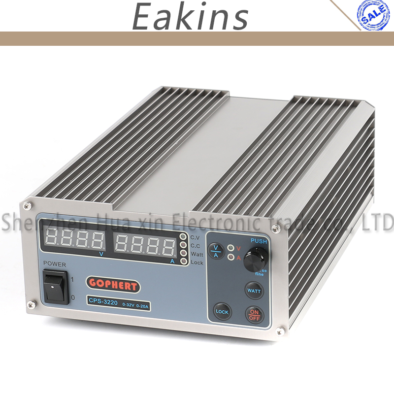 GOPHERT Compact Digital Adjustable Laboratory Switch DC Power Supply OVP/OCP/OTP MCU Active PFC 32V 20A 110V 220V + EU + Cable