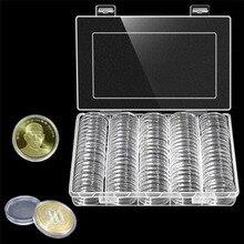 100 पीसी / बॉक्स सिक्का भंडारण बॉक्स साफ़ 30 मिमी गोल बॉक्सिंग धारक प्लास्टिक भंडारण कैप्सूल प्रदर्शन मामले आयोजक संग्रहणीय उपहार