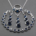 2016 Fashion Blue Created Sapphire 4PCS Women Jewelry Sets 925 Sterling Silver Earring Pendant Necklace Bracelet Ring JS55
