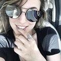 BOUTIQUE Mulheres Rodada Óculos De Sol Das Mulheres Designer De Marca Dupla-Ponte Semi-Quadro Sem Aro Óculos H1675