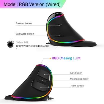Ratón ergonómico Vertical para juegos Delux M618 PLUS, 6 botones, 4000 DPI RGB, con cable/ratón derecho inalámbrico para ordenador portátil PC 3