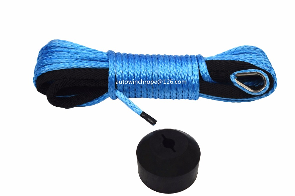 """Blue 3/16""""*50ft ATV Winch Line add Winch Hook Stoper,Synthetic Winch Cable 5mm,UHMWPE Rope,Kevlar Rope-in Towing Ropes from Automobiles & Motorcycles"""
