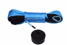 Blue 3/16*50ft ATV Winch Line add Hook Stoper,Synthetic Cable 5mm,UHMWPE Rope,Kevlar Rope