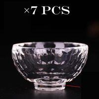 Tibet Tibetan Buddhist Buddha Offering Water Bowl Cup Vessel Alter Glass x7PCS