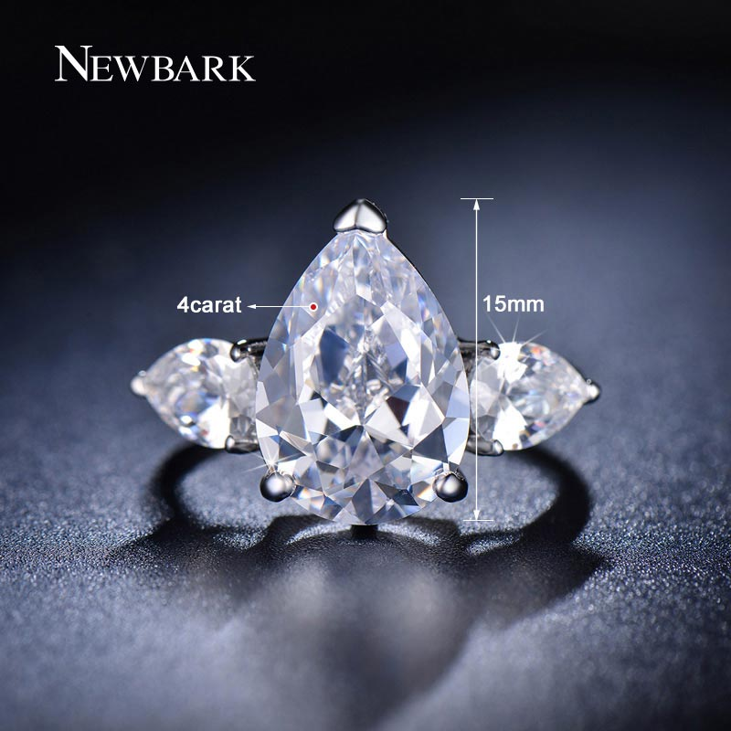 NEWBARK Prong Setting Copper Engagement Ring Water Drop Zirconia Jewelry  Silver Color Fashion Big Wedding Bands Rings For Women-in Rings from  Jewelry ... e2481d6157bc