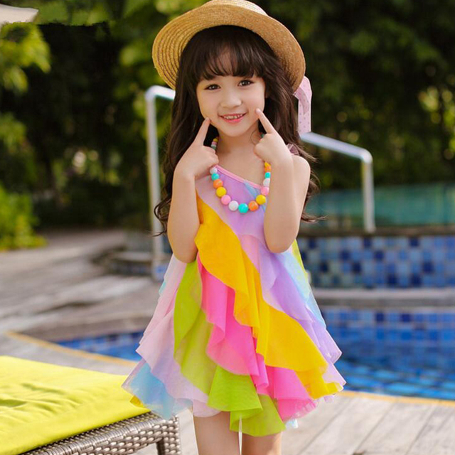 4812152706 Fashion Cute Dresses Children's Clothe Cute Colorful Sleeveless for Girls Beach  Dress 2017 New Style Princess Print Dress Lovely