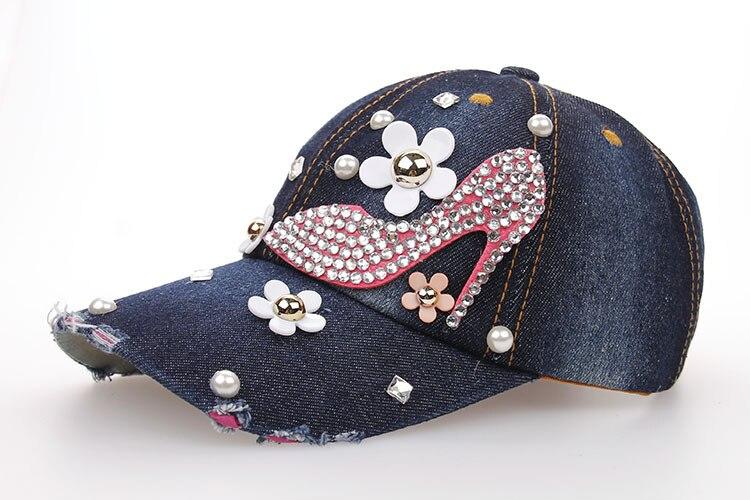 Baseball Cap for Women and Teen Girls Fashion Distressed Rhinestones ... 4aa5c95d86ea