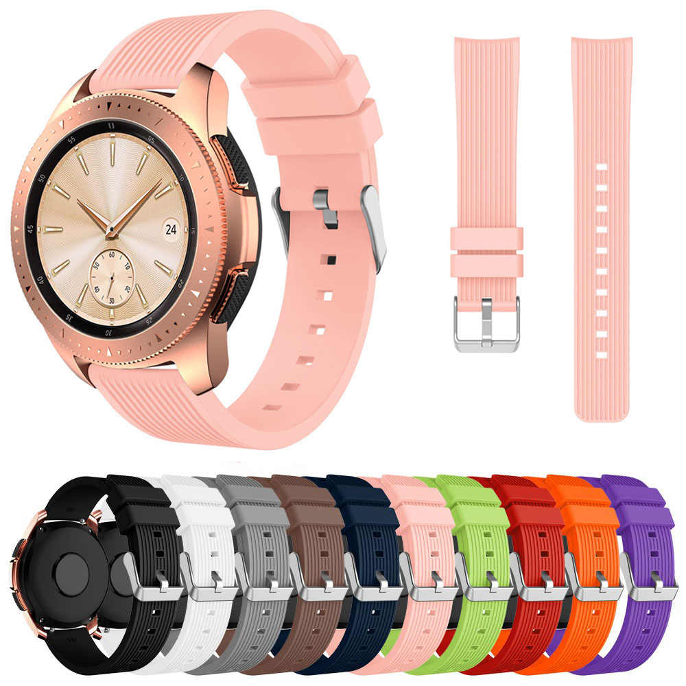 Bergaris Strap Watch Silikon untuk Samsung Galaxy Watch 42 Mm Band Penggantian Karet Gelang 20 Mm Tali untuk Galaxy Watch aktif