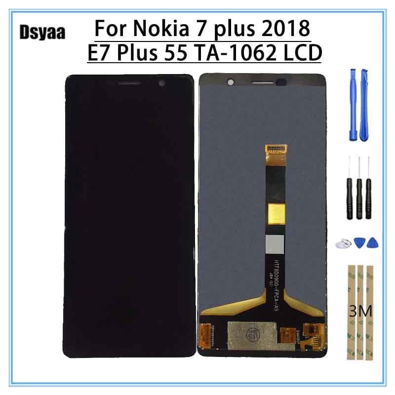 Для Nokia 7 Plus ЖК-дисплей 7 Plus Дисплей 6,0 Дисплей Сенсорный экран планшета для Nokia E7 плюс ЖК-дисплей Replacment TA-1062 ЖК-дисплей Сенсорный экран