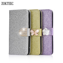 ZOKTEEC New Fashion Bling Diamond Glitter PU Flip Leather Case For Huawei Honor 7 8 9 10 Lite 7X 8X 5C Cover