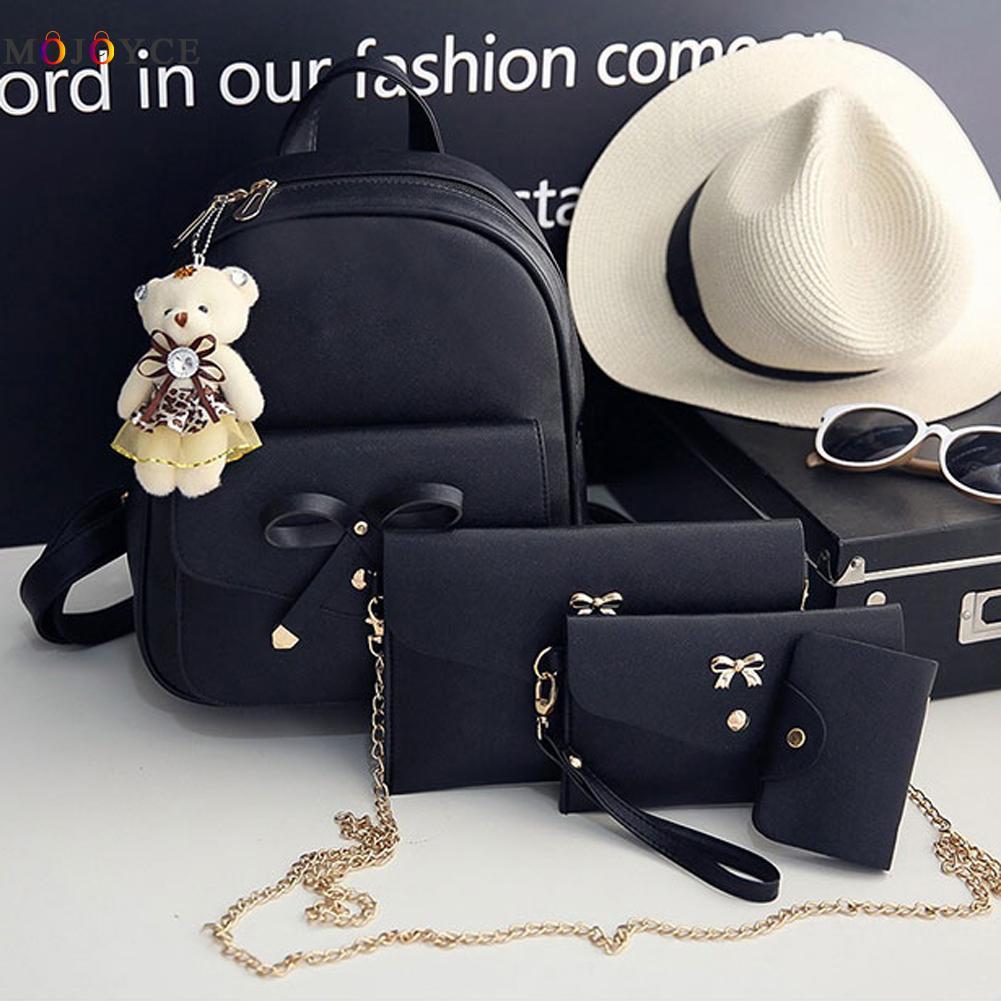 4 Pcs/set Women Backpack Small Size Fashion Teenage Girls Pu Leather Backpacks With Purses Mochila Feminina #3
