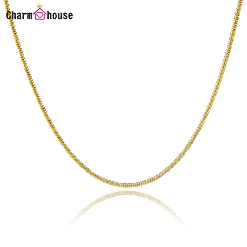 18 Inch Gold Color Necklaces For Women Vintage Snake Chain