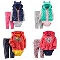 2016 ropa de bebé ropa de la muchacha bebes boy 3 unidades de juego, ropa del bebé traje para la nieve abrigos de invierno nuevo estilo roupas bebes