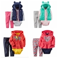 2016 roupas bebes menino menina roupa do bebê 3 peça de set, conjunto de roupas de bebê bebes inverno novo estilo snowsuit roupas abrigos
