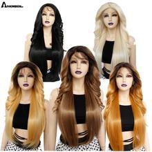 Anogol marron longue vague de corps synthétique avant de lacet perruques Futura fibre or blond pour les femmes résistant à la chaleur noir pré plumé