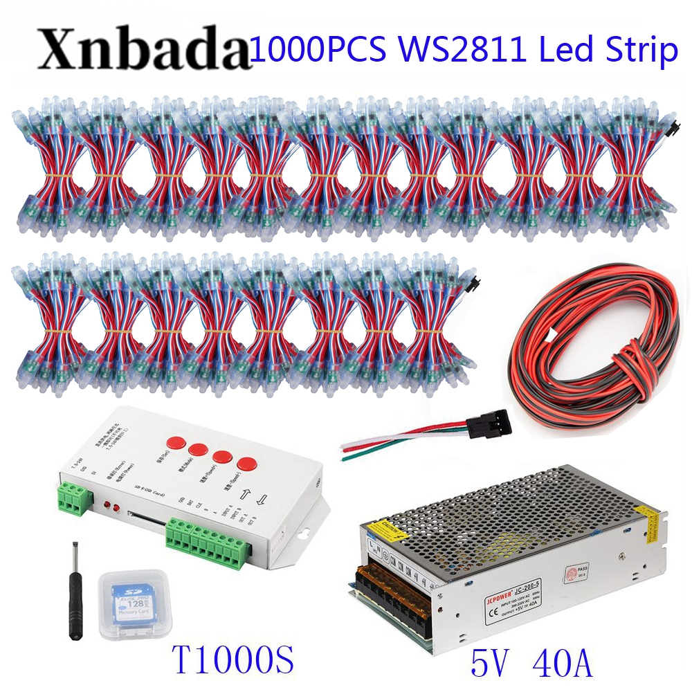 200-1000PCS 50pcs/lot WS2811 Module Programmable Colorful Waterproof IP68 Lamp Beads +T1000S Led Controller + 5V Power Supply