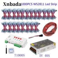 200 1000PCS 50pcs/lot WS2811 Module Programmable Colorful Waterproof IP68 Lamp Beads +T1000S Led Controller + 5V Power Supply