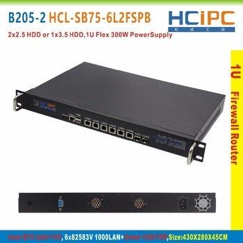 HCiPC B205-2 HCL-SB75-6L2FSPB, BareBone,LGA1155 B75 82583V 6LAN+2FSP 1U Firewall Barebone,1U 6LAN Router,6LAN Motherboard 1