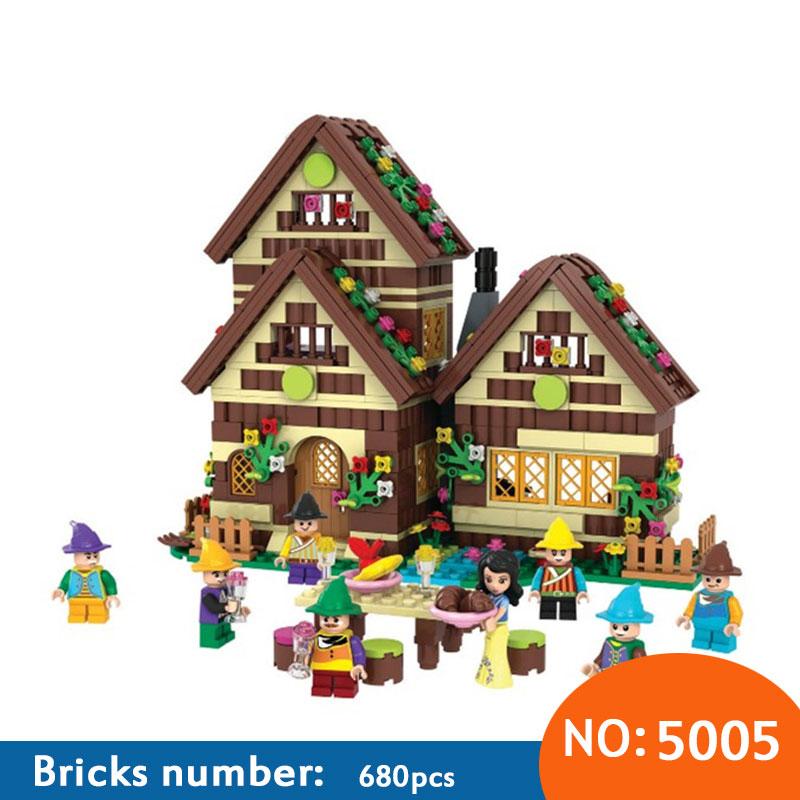 Winner 680pcs Snow White Series Building Blocks Dwarfs Chalet Brick Children's Education DIY Toys For Kids Gifts snow white and the seven dwarfs