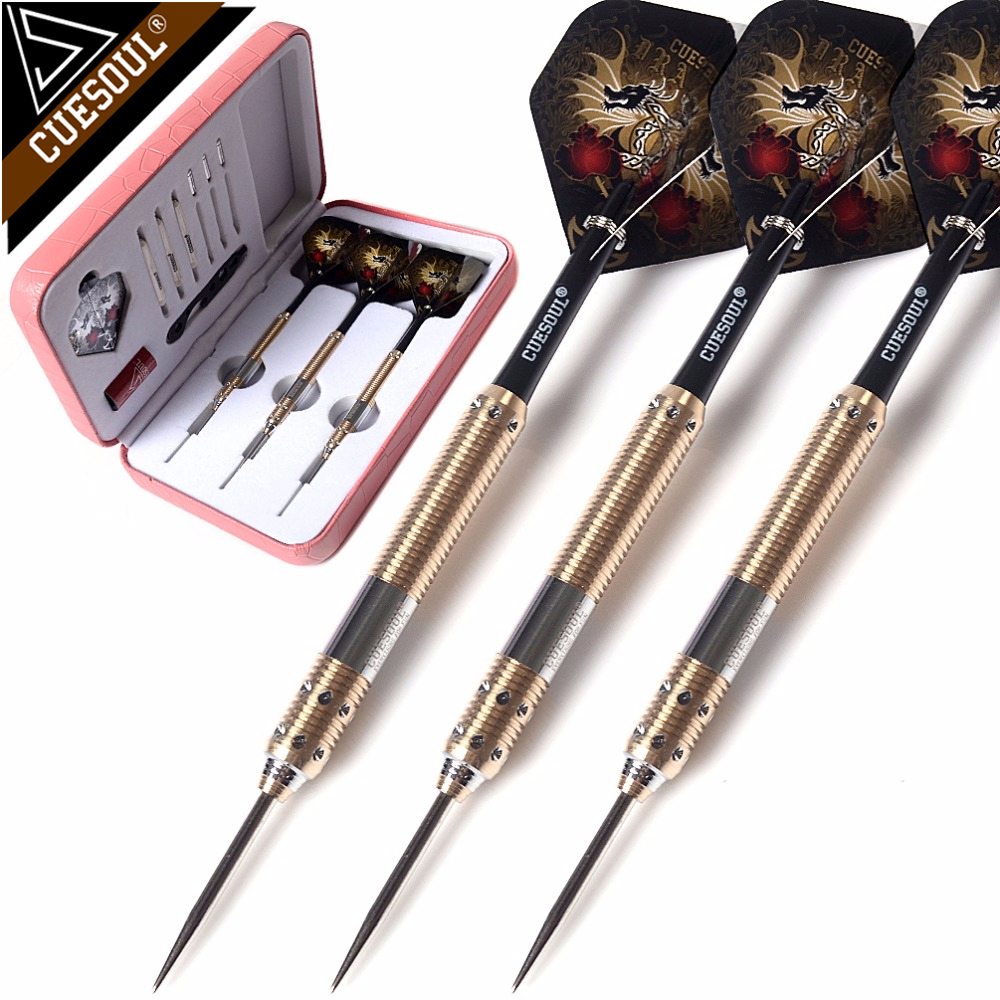 CUESOUL 21g 23g 25g Deluxe Brass Steel Tip Pack Dragon Series Darts with Flights and Shafts