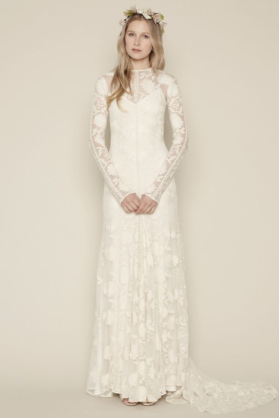 Bohemian Beach A-line Wedding Dress Scoop Long Sleeve Sweep Train Vestidos De Noiva NM 629