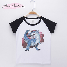 2019 New Children Clothes Boys T-shirts Dinosaur Cartoon Cotton Raglan Child Kids Short T Shirt Baby Tops Boy Tee Free Shipping