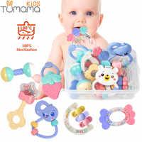8pcs Mordedor Música Chocalhos Brinquedos do bebê da Agitação da Mão Sino Cama Recém-nascidos Animais de Plástico Brinquedos Educacionais Do Bebê Chocalhos Presente 0 -12 meses
