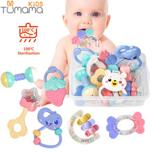 Baby Rattles Toys 8pcs Teether Music Hand Shake Bed Bell Newborns Plastic Animal Rattles Gift Educational