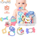 Baby Rattles Toys 8pcs Teether Music Hand Shake Bed Bell Newborns Plastic Animal Rattles Gift Educational Baby Toys 0-12 Months
