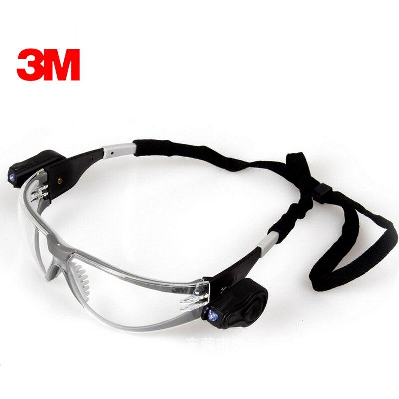 3 М 11356 Защитный СВЕТОДИОДНЫЕ очки Защитные Двойной Яркие СВЕТОДИОДНЫЕ Фонари Прозрачные линзы Анти Шок Анти-Туман Безопасности рабочие Очк…